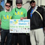 At the bike station at 40th and San Pablo in Emeryville are (from left) Ryan Stahlman and Svante Rodegard, members of Emeryville's Bicycle and Pedestrian Advisory Committee (BPAC), and Joe Melancon, an employee of the city's Recreation Department.