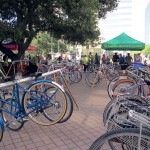 Cyclists congregate at Oscar Grant Plaza in Oakland for Bike-to-Work Day