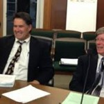City Attorney Mike Biddle (L) with former City Manager Patrick O'Keeffe