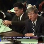 Emeryville City Attorney Mike Biddle (left), who advised the City Council to support the discounted loan, and former City Manager Patrick O'Keeffe, who was well-known for making decisions and recommendations favorable to developers, often at the expense of the city and its residents.